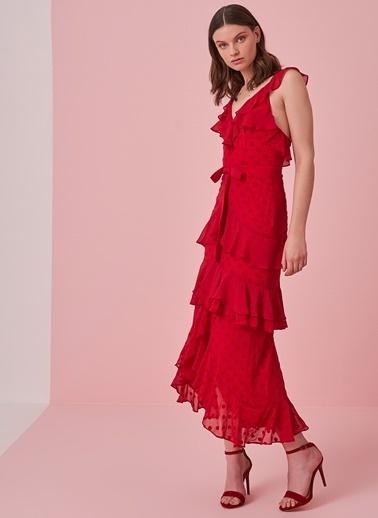 morhipo x dcey Fırfır Detaylı Puantiyeli Elbise Kırmızı